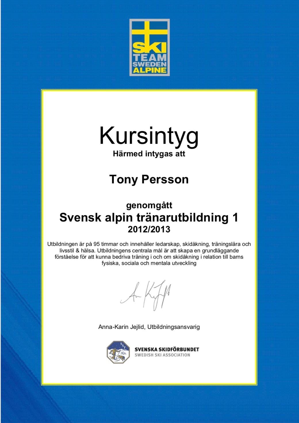KURSINTYGS SATU 1 Tony Persson 1213